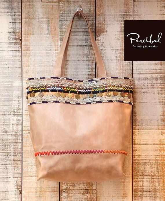 Boho leather bag bohemian leather purse boho tote bag by Percibal
