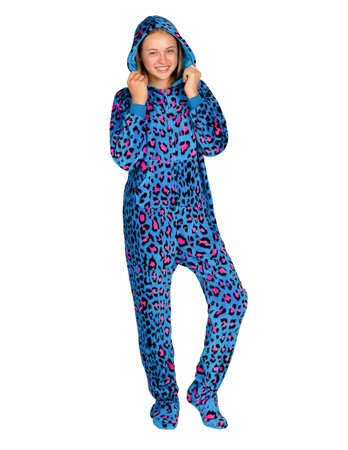 cb5c4ade6246 Neon Kitty Hoodie One Piece - Kids Hooded Footed Pajamas