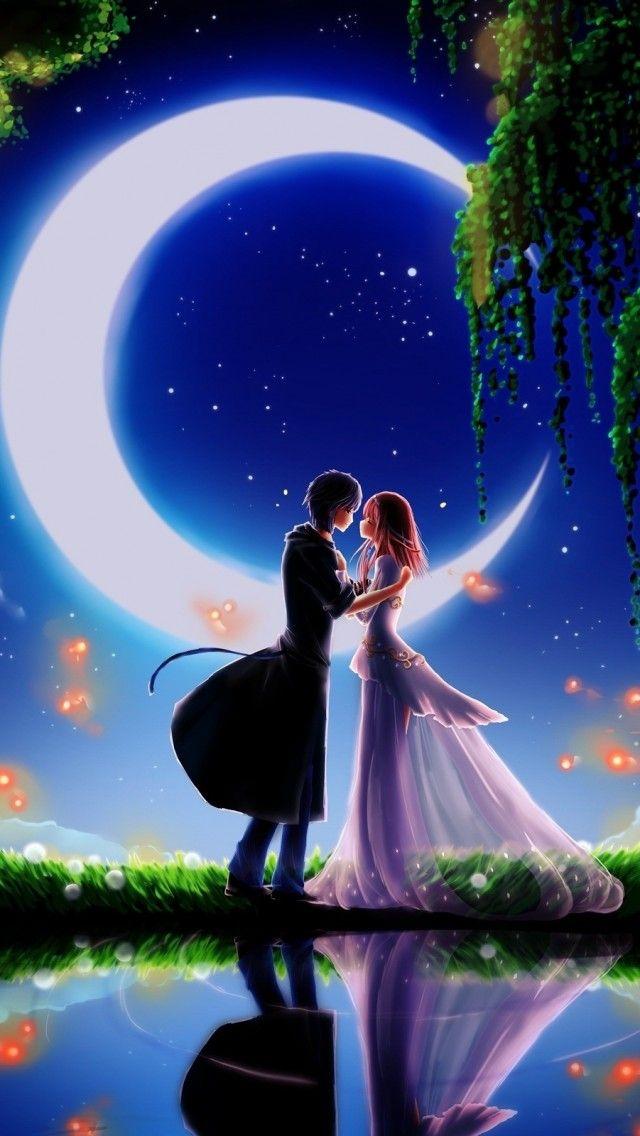 Girl and Boy in Moonlight 3D Wallpaper Romantic wallpaper