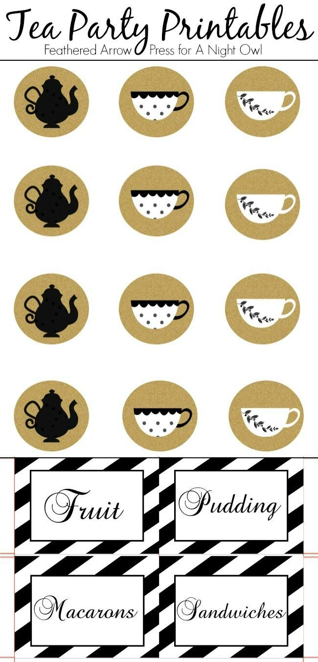 Adorable toppers and food label cards, perfect tea party printables for throwing your very own tea party!