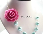 Blush Pink Flower Necklace, Mint Green, Bridesmaid Jewelry, 2 Bridal Necklaces. $58.00, via Etsy.: Pink Flowers, Bridesmaid Necklaces, Bridesmaid Jewelry, Flowers Necklaces, Mint Green Bridesmaids, Flower Necklace