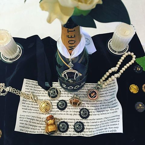 Another great display of Wearing Memories jewellery. Interchangeable Lockets that allow you to wear champagne caps. carol@wearingmemories.com