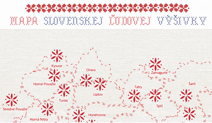 Map of traditional slovak embroidery