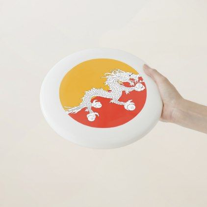 #Bhutan Flag Wham-O Frisbee - #country gifts style diy gift ideas