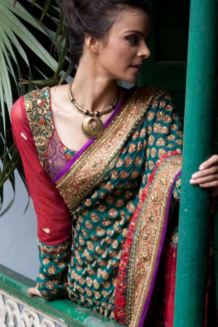 Designer Wedding Embroidered Saree; Pine Green Benarasi Wedding and Festival Embroidered Saree