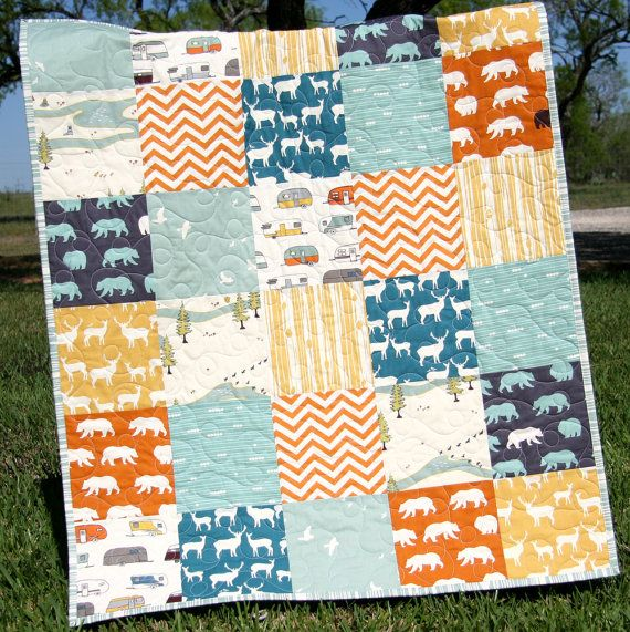 Rustic Quilt Deer Buck Elk Bears Woodland Forest Birch