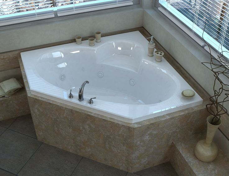 """Curacao 58"""" x 58"""" Corner Whirlpool Jetted Bathtub with Center Drain"""
