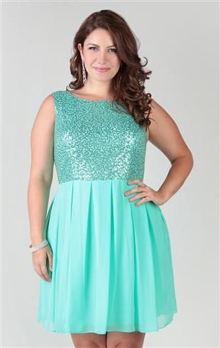 plus size chiffon dress with sequin bodice and box pleat skirt (in ...