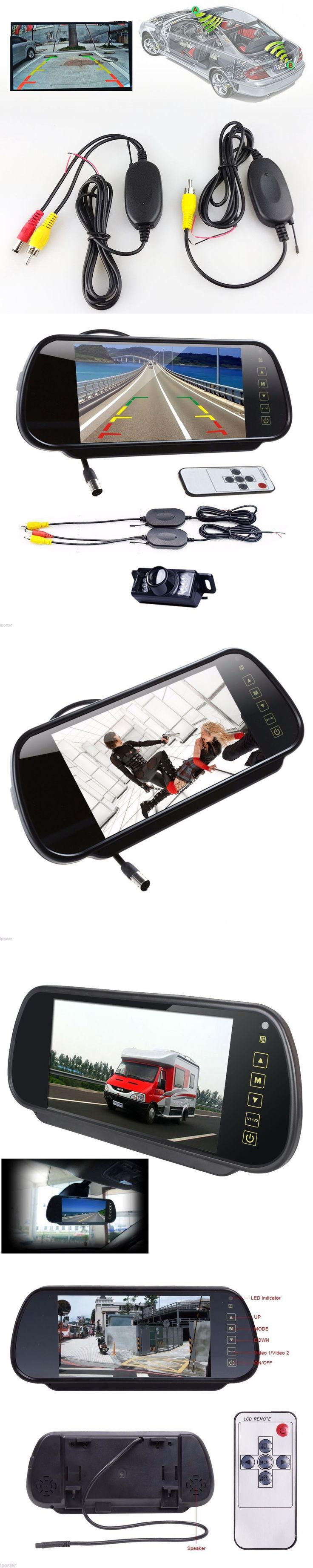 "ANSHILONG 7"" LCD Mirror Monitor +Wireless Car Reverse Rear View Backup Camera Night Vision"