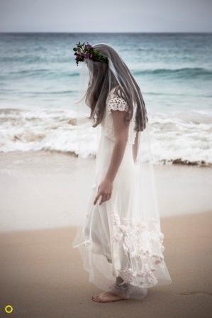 Daphni Veil on Kalogria Beach - Nymphi Design Bridal Accessories - Greece