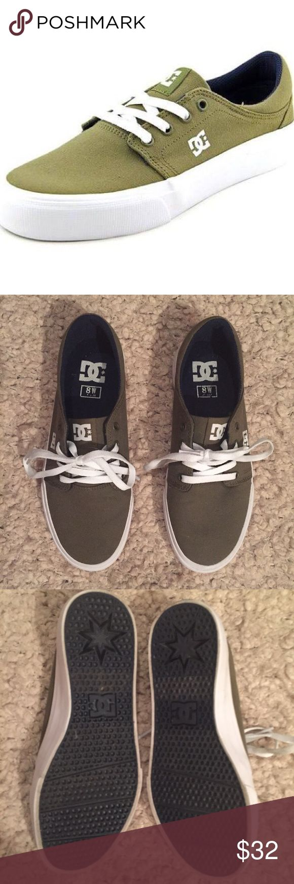 Never worn DC skate shoes in khaki green The DC Shoes feature a Canvas upper with a Round Toe . The Man-Made outsole lends lasting traction and wear. DC Shoes Sneakers