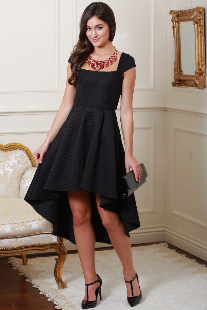 Cadie Black Square Neckline Dip Midi Dress
