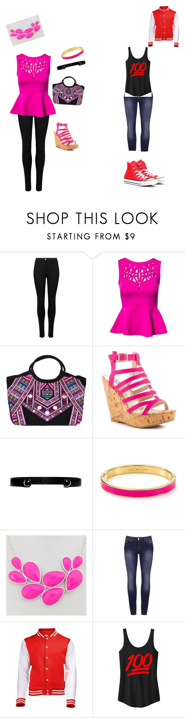 """liv(left) and maddie(right) Rooney outfit"" by moses-faith ❤ liked on Polyvore featuring beauty, M&S, Oneness, Mara Hoffman, Steve Madden, Ela Stone, Kate Spade and Converse"