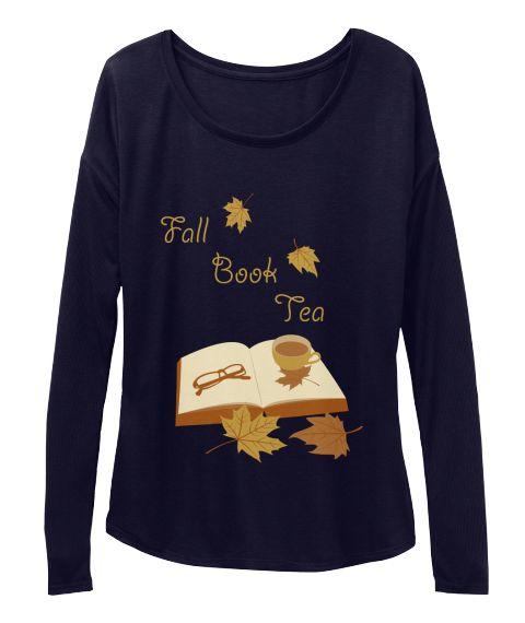 Fall Book Tea Midnight Long Sleeve T-Shirt Front