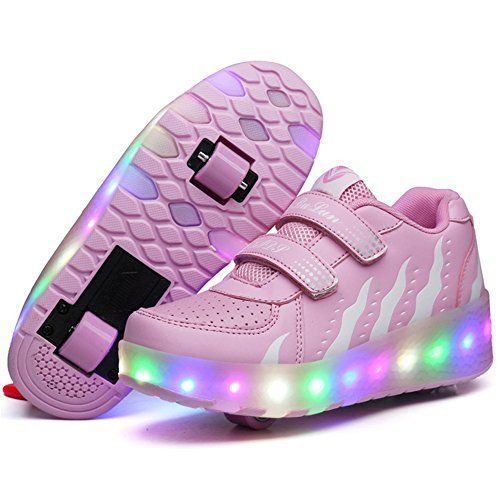 Luckly Grace LED Light up Wheel Roller Skate Shoes with Wings Retractable Outdoor Sport Flashing Sneaker for Boys Girls (3 UK, Pink): Amazon.co.uk: Shoes & Bags
