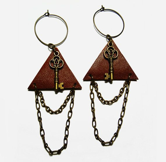 Brown Triangle Leather Bronze Key Hoop Earrings by FoxliciousDesign on Etsy