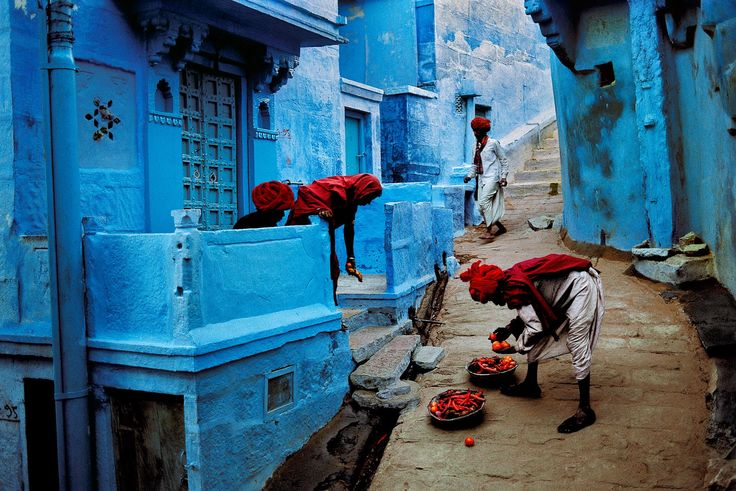 Jodhpur or 'Blue City' (India). Why the population of the fortress city took to painting their houses in various shades of blue is not completely certain. Yet most believe it's to do with the prevailing caste system in India. Picture by Steve McCurry.