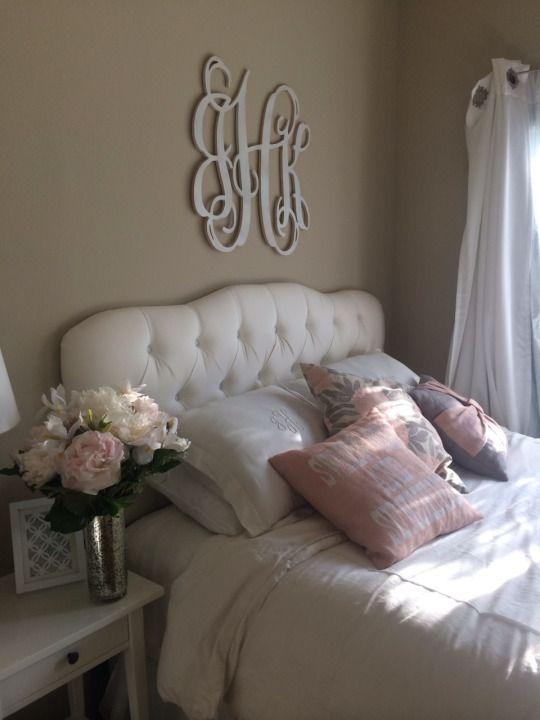 pretty bedroom. I love the monogram!
