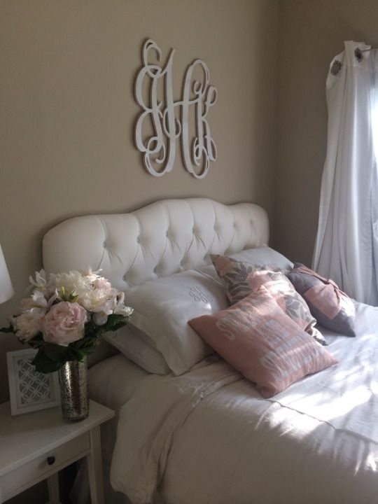pretty bedroom. I love the monogram!