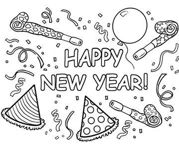 Happy New Year - When cold weather traps your kids indoors, avoid cabin fever with a box of crayons and these New Year's, snow, and winter coloring pages. Count down the new year with a riot of confetti and balloons. (Good for: kindergarten) #coloringpages
