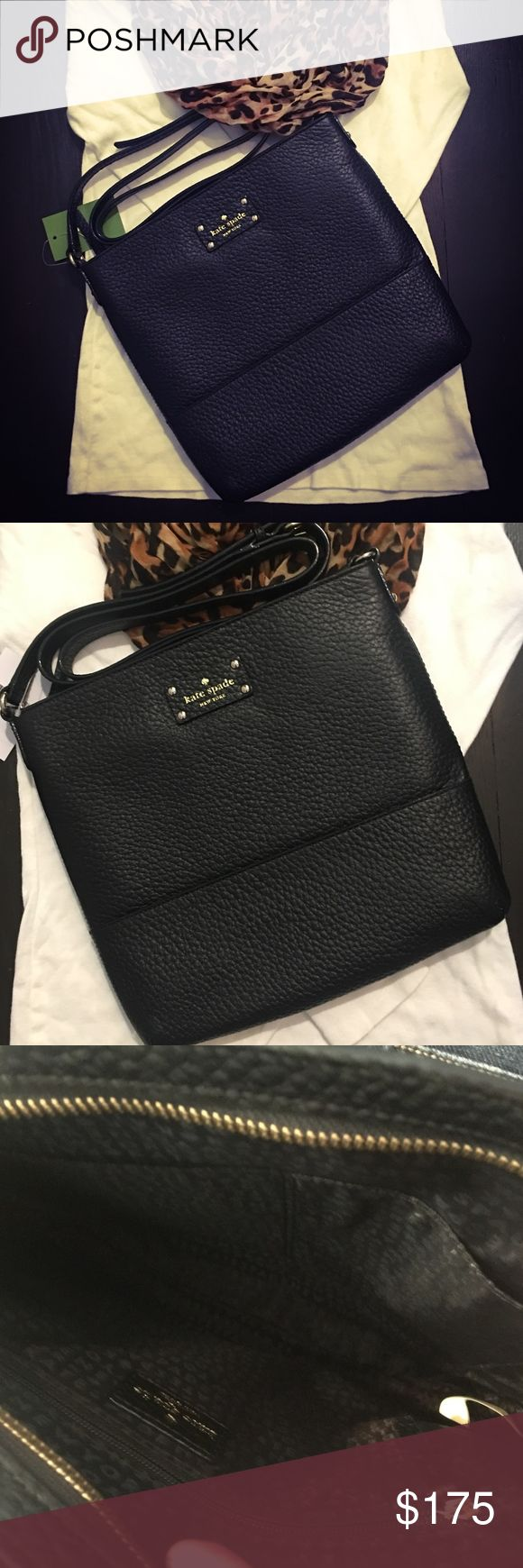 "Kate Spade Bay Street Cora Purse Kate Spade Bay Street Cora Purse CONDITION: NWT COLOR : Black • COWHIDE TRIM • 14K GOLDPLATED HARDWARE • ZIP CLOSURE  • CROSSBODY • ADJUSTABLE STRAP UP TO 47""  • MEASURES APPROX 10.1"" w x 10.1"" l x 1.2""d  • Embossed KATE SPADE NY LICENSE PLATE • INTERIOR HAS 2 SLIP POCKETS/1 ZIPPERED POCKET  • JACQUARD LINING  • DUST BAG NOT INCLUDED   Last 2 photos are stock photos  Feel free to make me an offer! Or bundle and I'll send your a private discounted price! kate…"