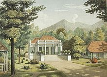 A lithograph of Cipanas Palace created by Josias Cornelis Rappard in 1880, while it was being a residence of Dutch East Indies Governor General.