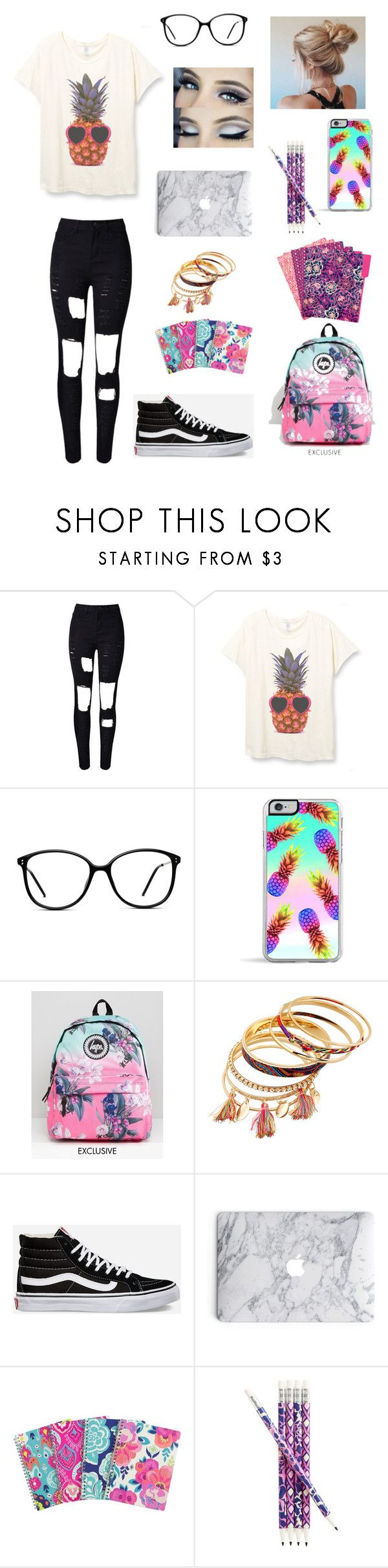 """""""Sophomore year of college"""" by bdunsieth on Polyvore featuring WithChic, GlassesUSA, Forever 21, Hype, Vans and Vera Bradley"""