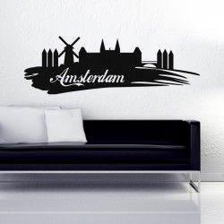 "Amsterdam City Wall Decal  Bring this cool city of Europe home to make you feel young all the time. Dutch land, city Amsterdam is famous for its impressive architecture, serious partying, Canals, dams & rivers. Windmills are an iconic part of this city. Let The City of Amsterdam as your bedroom wall sticker and enhance your interior with this Old Dutch city wall art.  SMALL:-- 24""X8"" MEDIUM:-- 48""X16"" LARGE:-- 72""X24"""