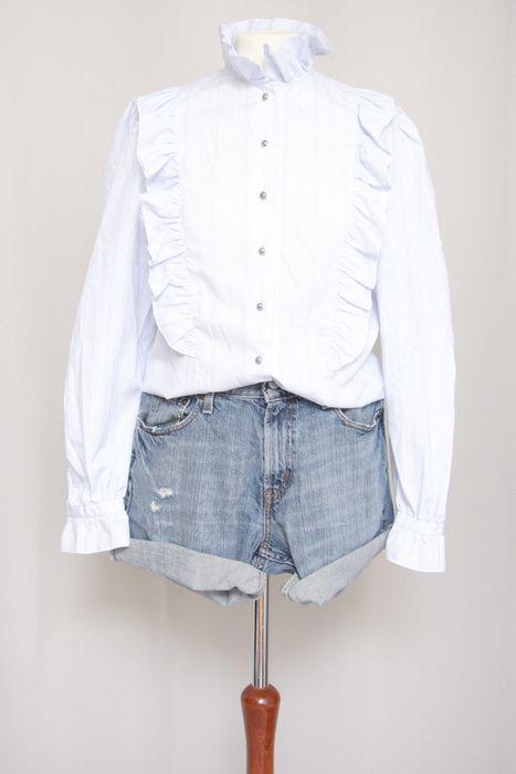 Vintage Stehkragen Hellblau High Neck Nostalgie Romatisch Bluse Hemd Spitze Rüsche Volants 38 S M 40 - kleiderkreisel.de