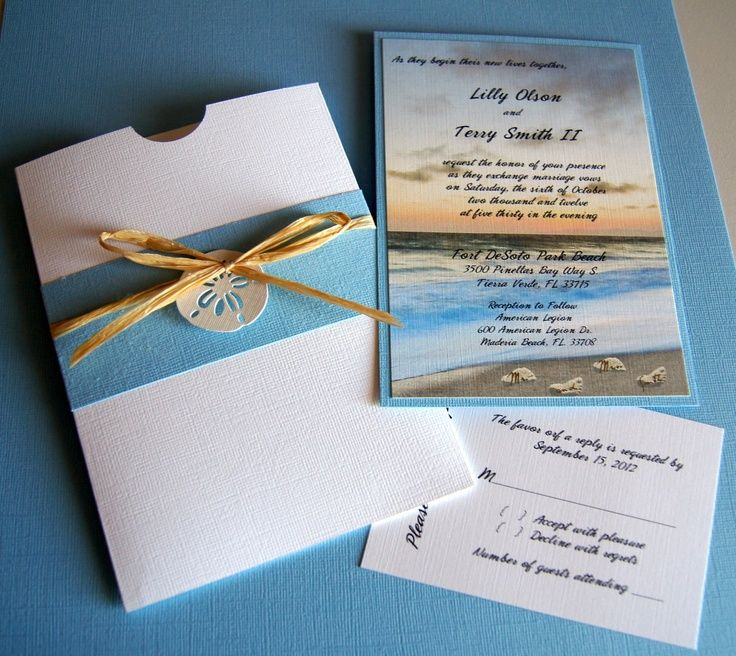 beach wedding invitation examples%0A Unique Beach Wedding Invitations   Custom Handmade Beach Wedding Pocket  Invitation