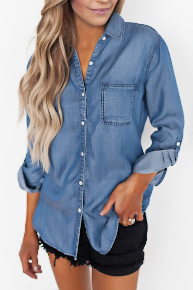 Denim Button Down - Dottie Couture Boutique