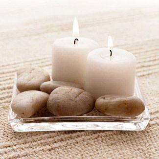 Tableau toile bougies galets - Toile décorative zen | Chantemur