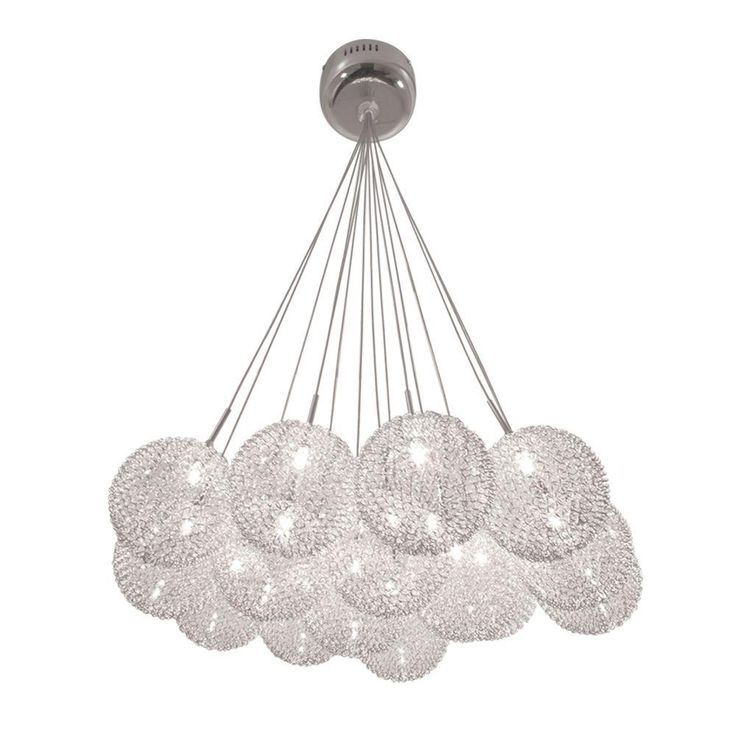 BAZZ, Lume Series Ceiling Mount Chrome Chandelier With Pendants Clear Balls  Covered In A Metal Mesh, At The Home Depot   Tablet