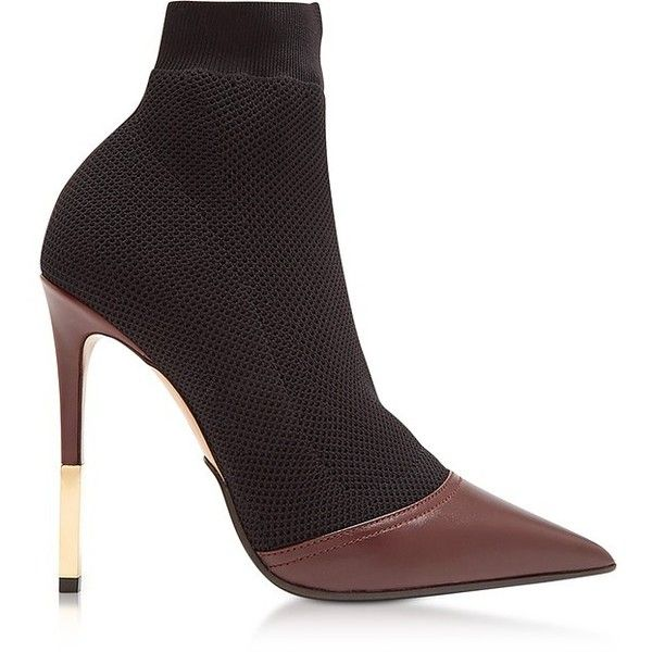 9eb36862f5bb Balmain Shoes Aurore Burgundy Point-toe Honeycomb-knit Ankle Boots ...