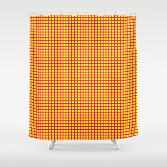 Pink On Yellow Grid Shower Curtain By Moonshine Paradise Shower Curtains Pink Yellow And Curtains