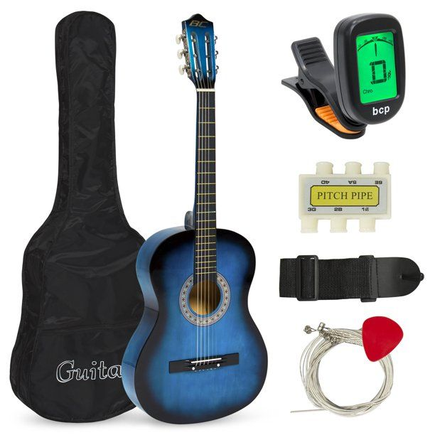 Best Choice Products Beginners Acoustic Guitar With Case Strap Tuner And Pick Blue Walmart Com Guitar Tuners Guitar Guitar Musical Instrument