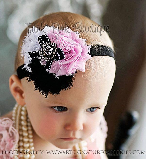 Cutest Pink black and white shabby chic roses baby headband, toddler headband,baby girl headband,headband. VISIT our STORE. $8.95, via Etsy.