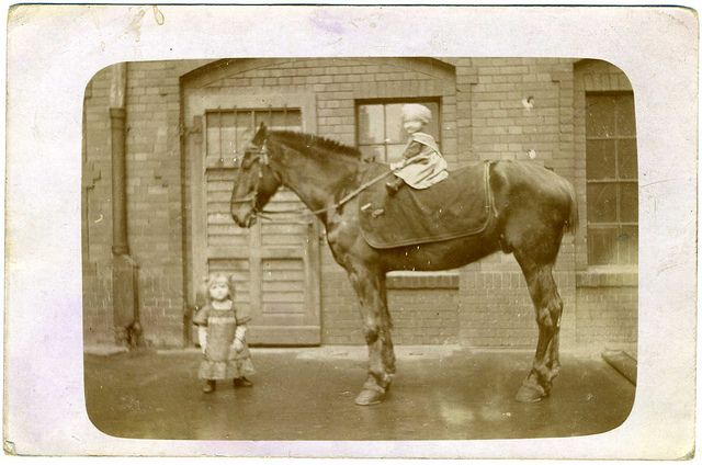 Real Photo Postcard: Two Children And A Horse 1912-1915, German.