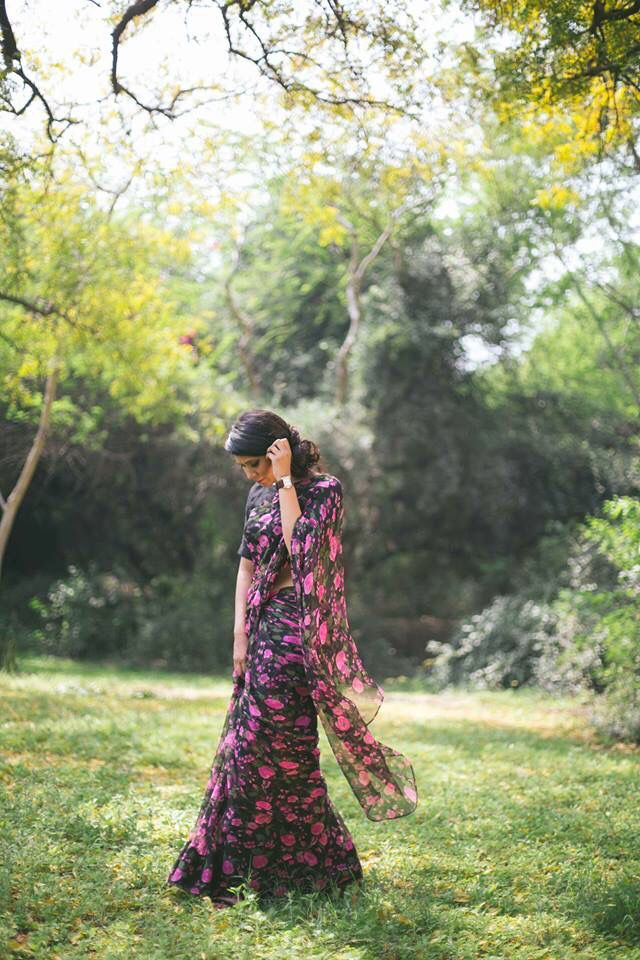 Vintage floral chiffon saree by Nafisa Rachel William.