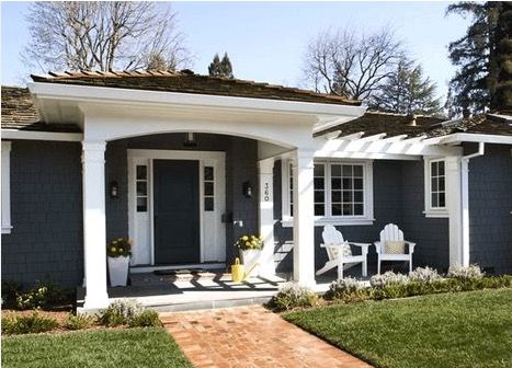 curb appeal addition - portico to front door and pergola to side door