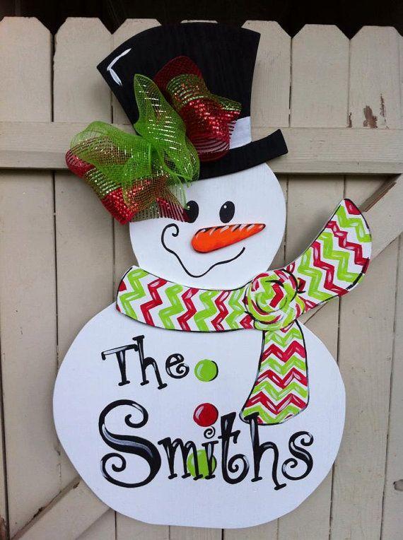 Christmas Snowman Wooden Door Hanger Personalized by Earthlizard