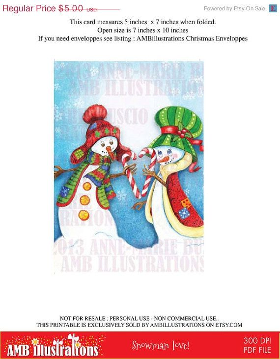 Snowman love!  The candycanes join their love! Perfect card for Christmas!  Get it on etsy. https://www.etsy.com/listing/160605599/40-off-printable-christmas-cards-diy?ref=shop_home_active