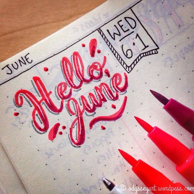 Lettering Today's #dndchallenge lettering prompt: Hello June Faber-Castell PITT artist brush pens and Gelly Roll pen in Leuchtturm1917 bullet journal. #the100dayproject #doodleeveryday #dailydoodle2016 #odysseyartdoodles #illustration #art #sketch #sketchbook #doodles #leuchtturm1917 #bujo #bu-jo #planning #planner #journal #handlettering #lettering #brushlettering #brushscript #50words #betype #bulletjournal