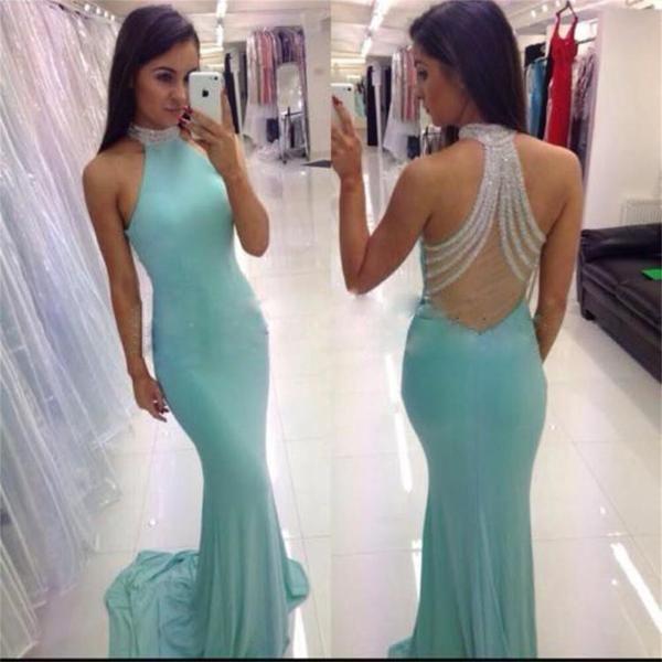 High Neck Prom Dress,Mermaid Prom Dress,Blue Party Dress ,Sexy Prom Dress,Custom…