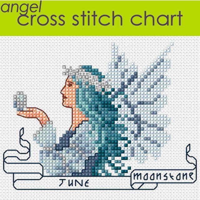 June+Angel+Cross+Stitch+Chart+PDF,+Moonstone+Birthstone £2