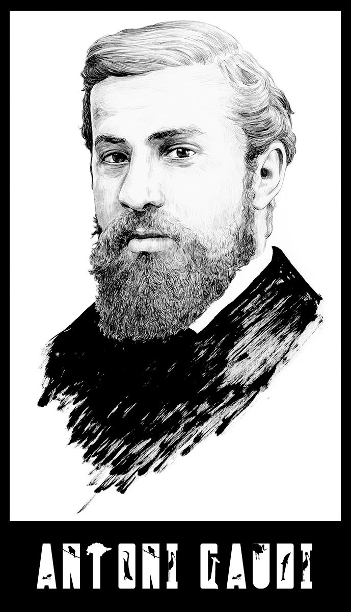 Portrait of Antoni Gaudi (1852) by Chamo San.  For another works of the artist : https://www.behance.net/chamosan
