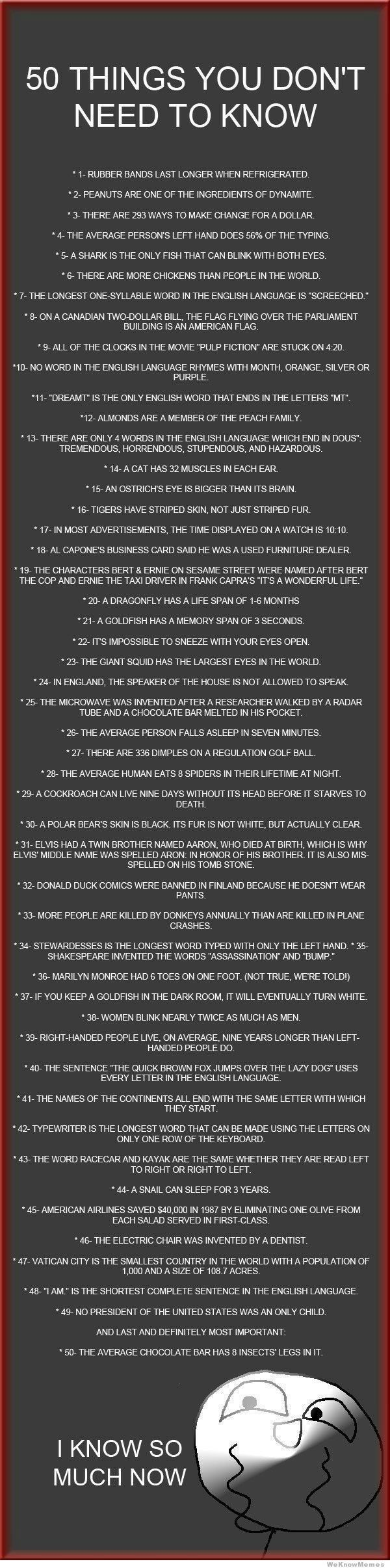 Some of these are really disturbing... But this is sooo worth reading!: Useless Facts, Stuff, Numbers, Funny, Chocolates Bar, Fun Facts, Interesting Facts, Random Facts, 50 Things
