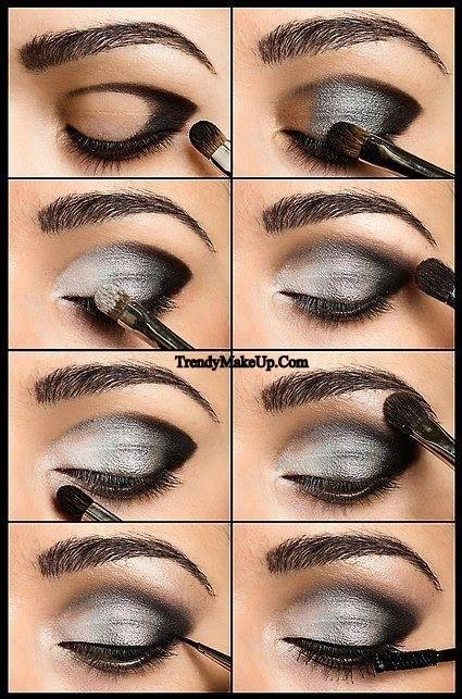 Smokey silver eye makeup