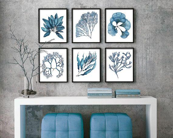 Conjunto de 6 corales y alga marina náutica impresiones en azul Set #3 - acuarela pared decoración pared arte cartel Costa Coral arte impresión náutica