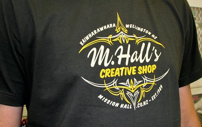 2009 – M. Hall's Creative Shop T-shirt. In all colours, shapes and sizes – much like our clients.